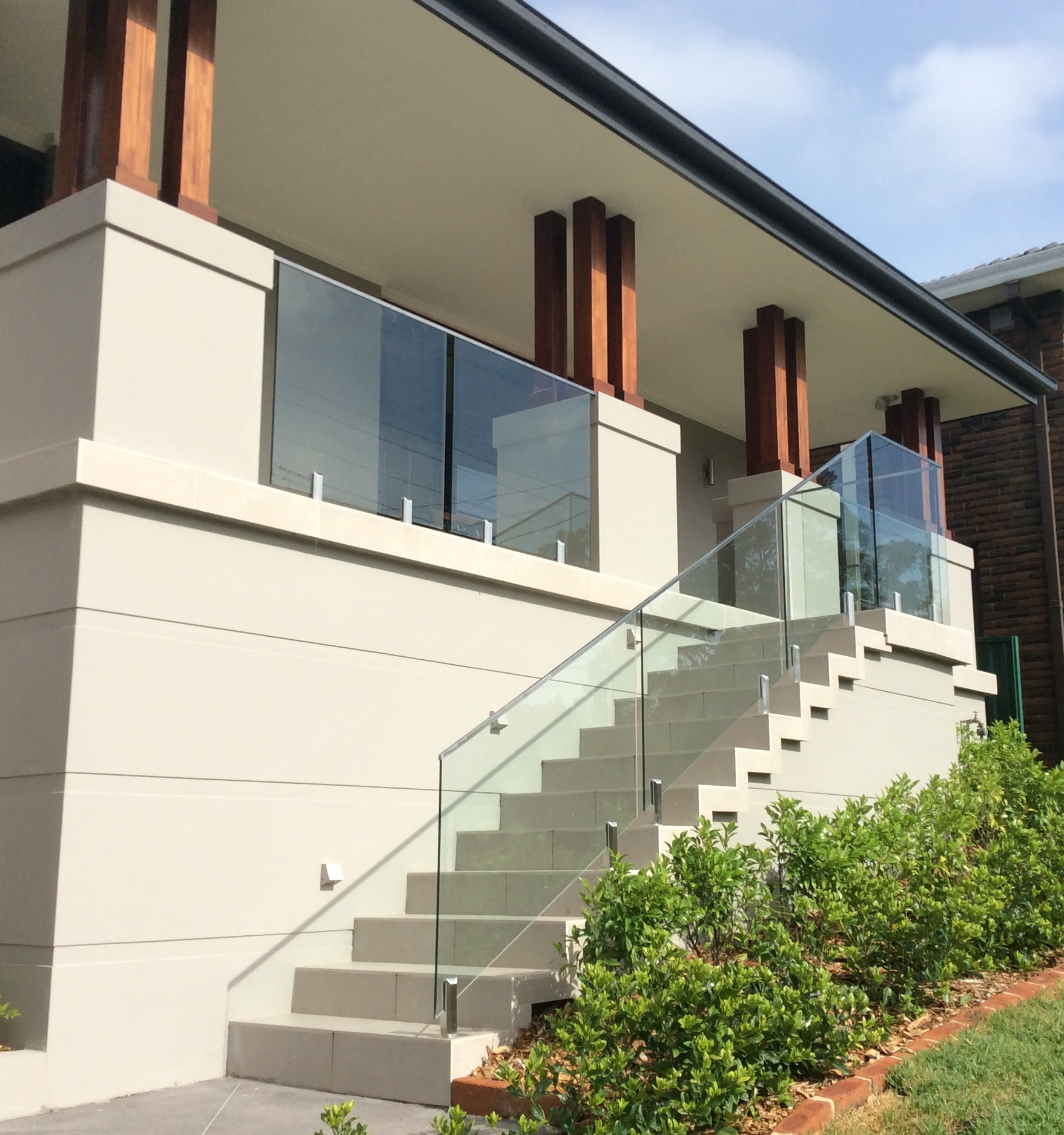 Glass Balustrade with top rail Baulkham Hills